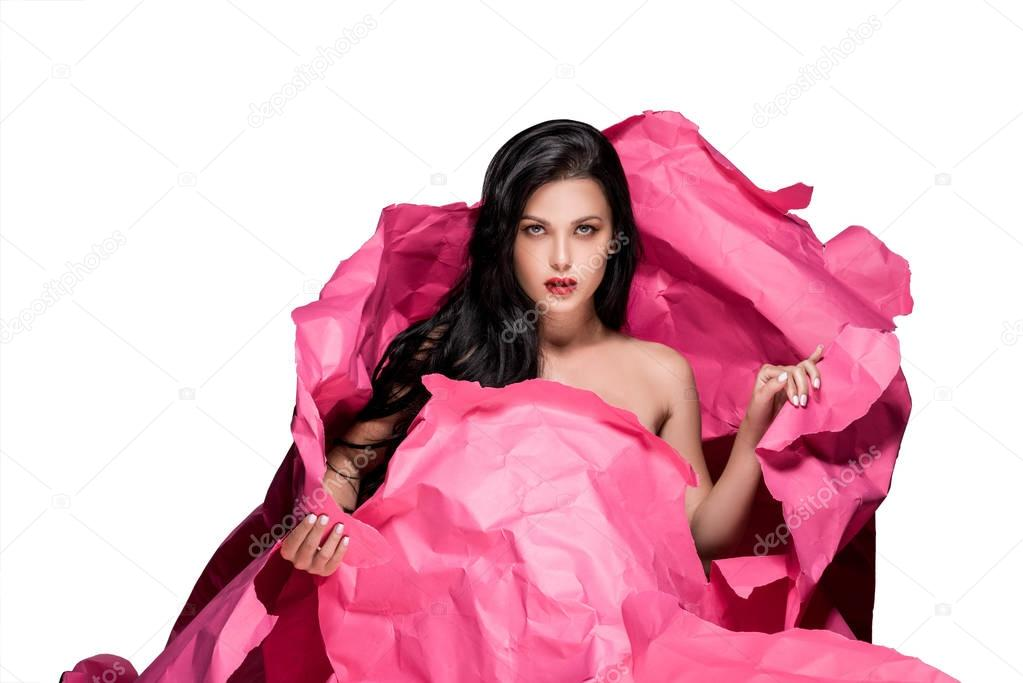 Portrait of attractive young woman as pink flower isolated on white stock vector