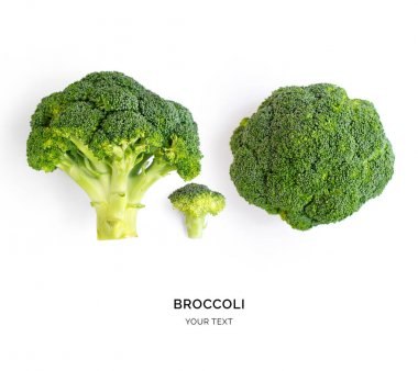 Minimalistic composition with side and above view of broccoli on white background. stock vector