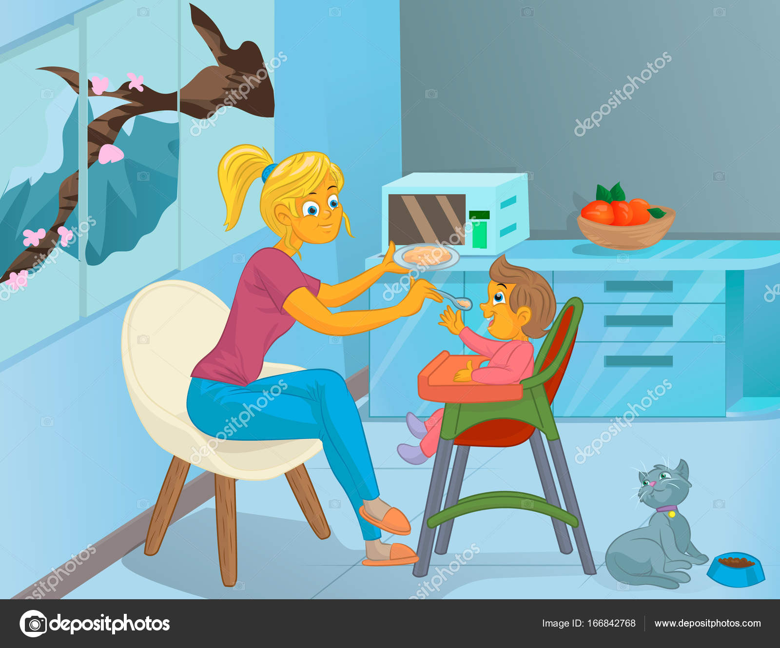 Nanny in the kitchen is feeding the child — Stock Vector ...