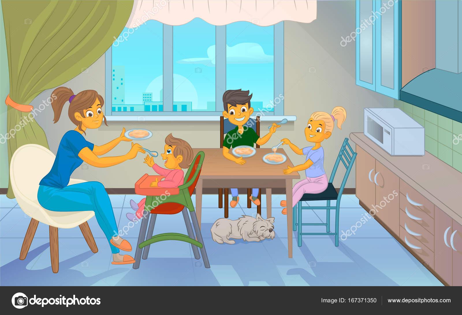 babysitter feeding kid in kitchen — Stock Vector © lionimageone ...