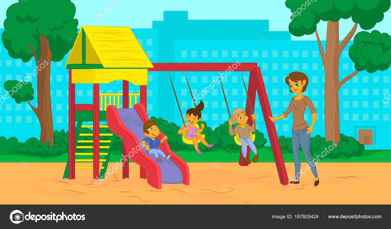 Mamá De Dibujos Animados Con Los Niños En El Parque De