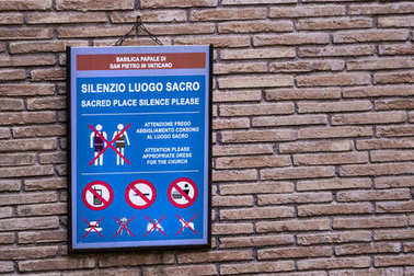 dress code, rules and prohibitions in the Vatican, Italy 2017-08-17