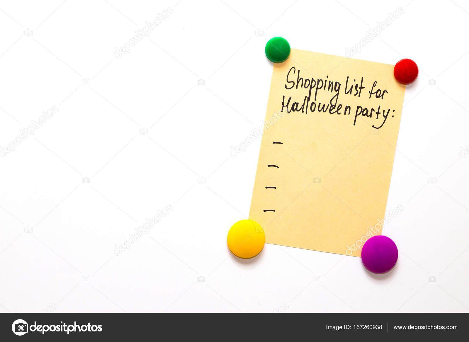 Kühlschrank Party : Kühlschrank hinweis mit dem text: einkaufsliste für halloween party