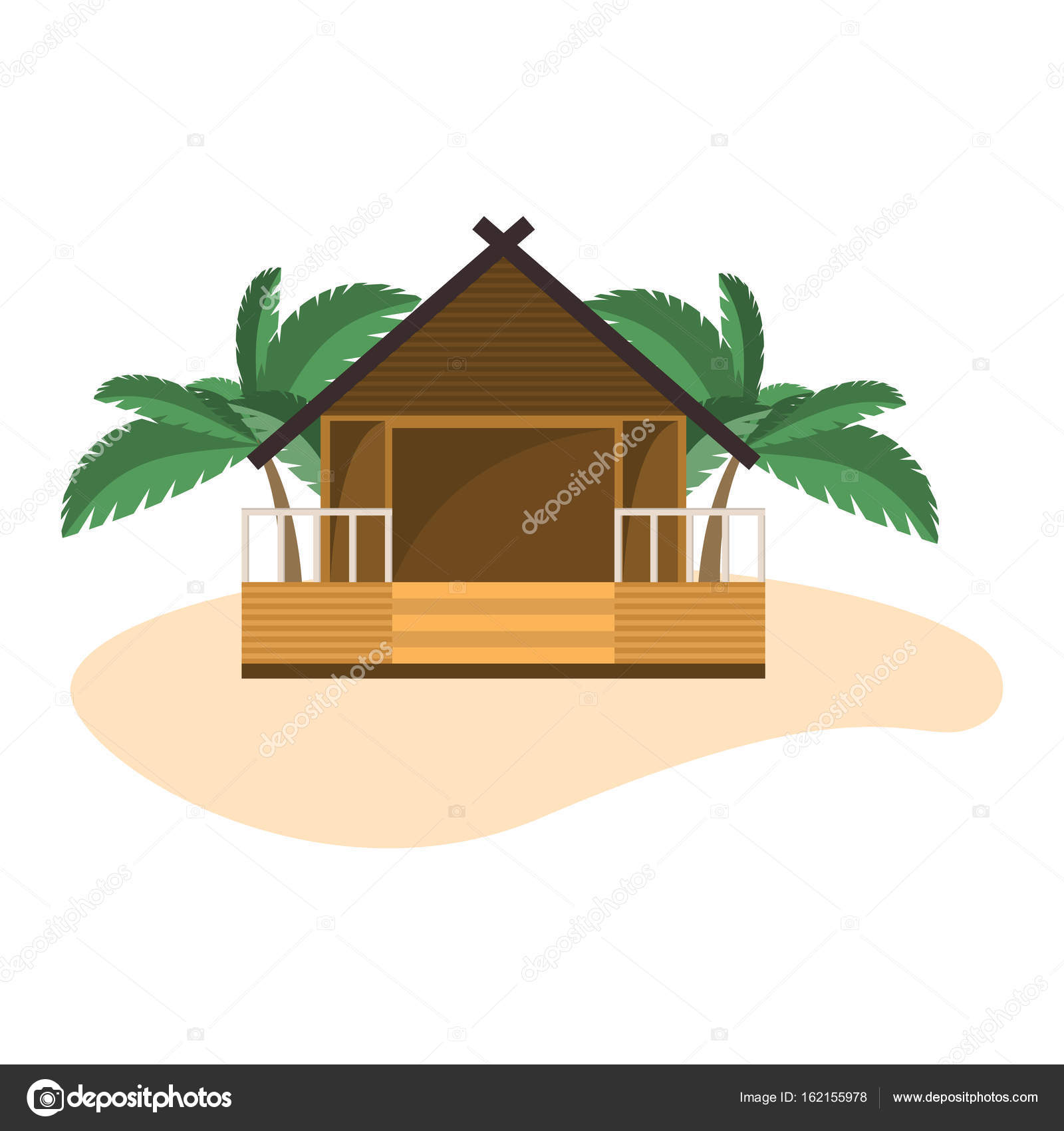 Beach Bungalow On Small Island With Palms Isolated Object White Background Stock