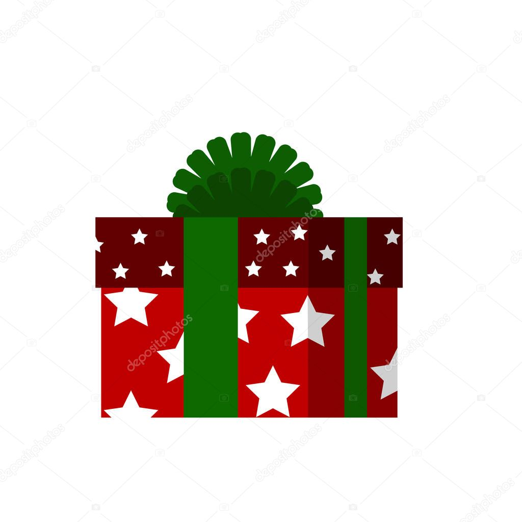 Vector icon red box with white stars and large ribbon
