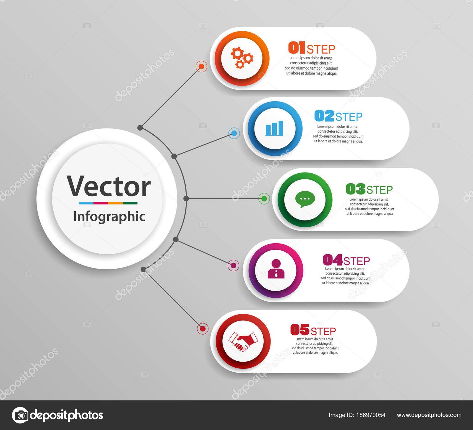 Timeline Infografiken Gestalten Vektor Und Marketing Symbole Für ...