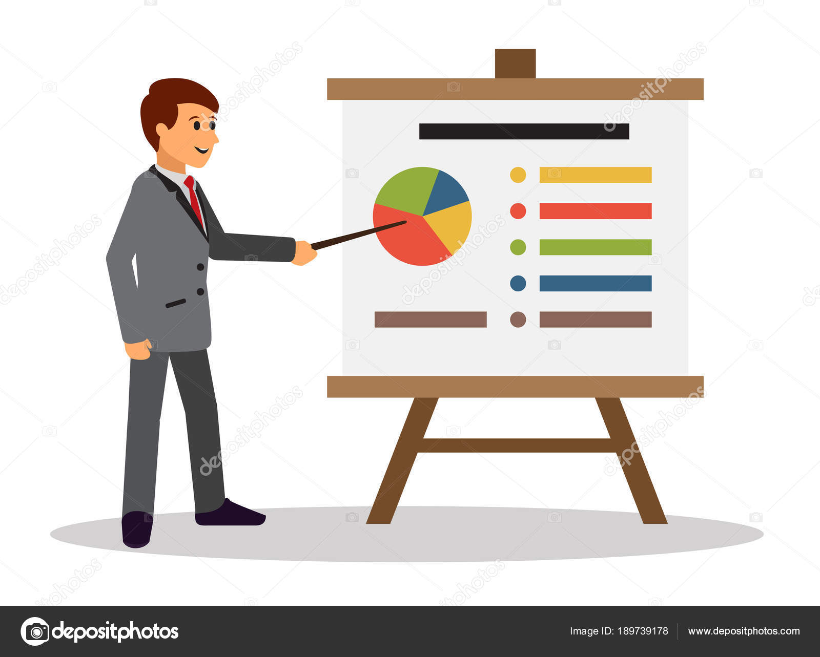 young businessman making presentation whiteboard infographics shows