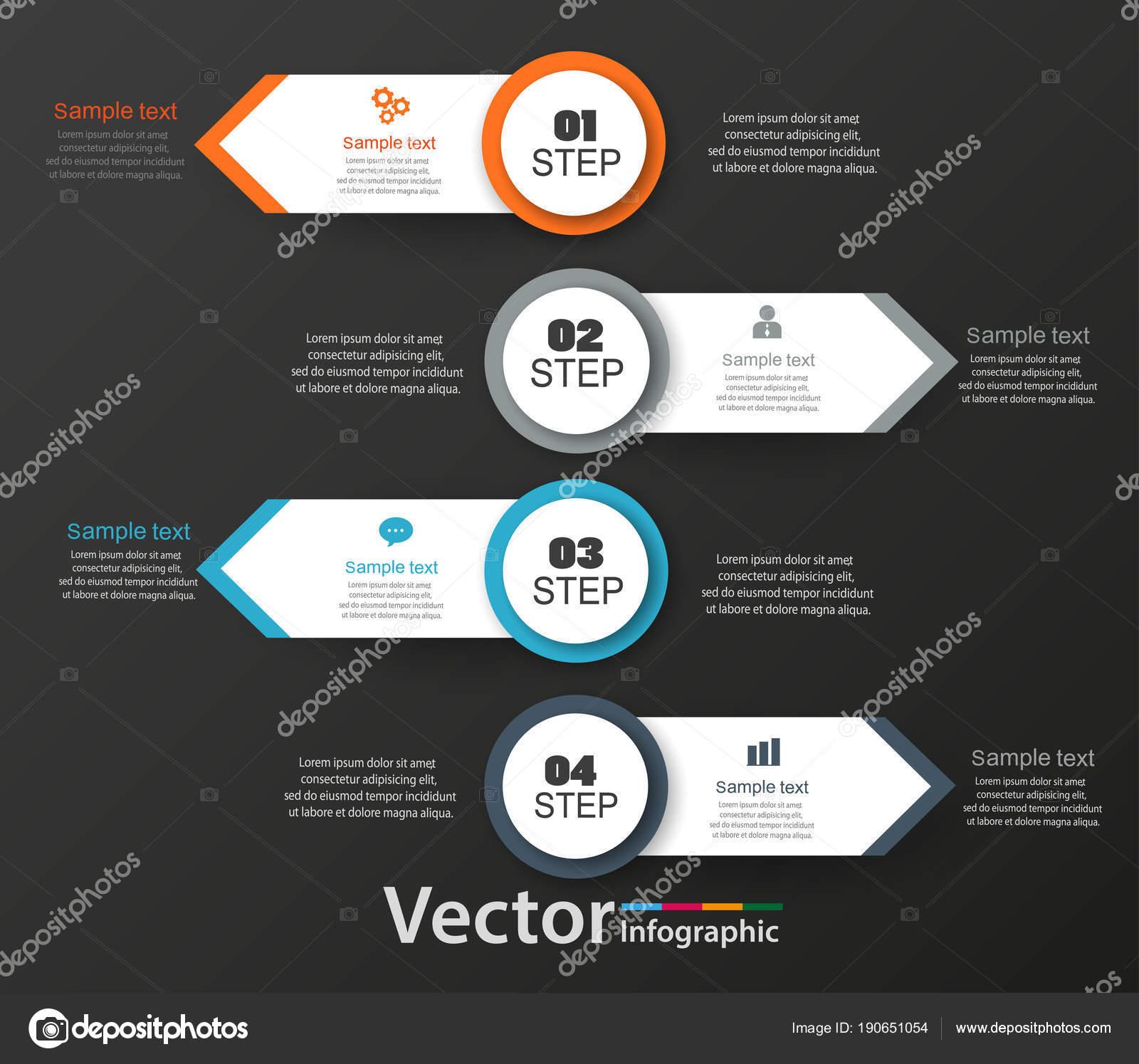 Plantilla Diseño Infografía Sobre Fondo Negro Puede Utilizar Para ...