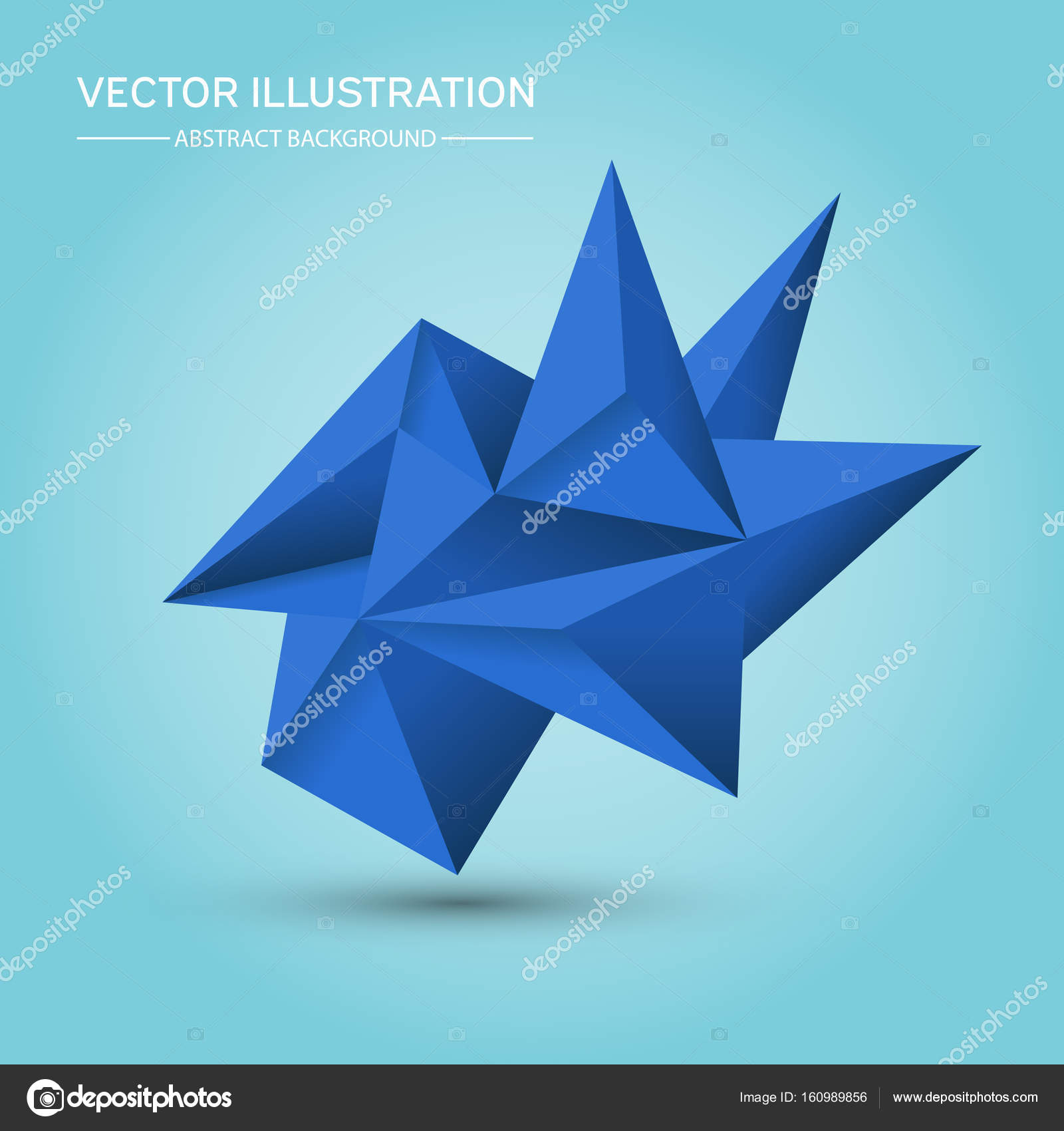volume geometric shape. abstract polygonal geometric shape. 3d blue