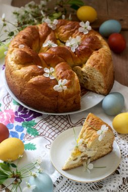 Traditional Moldavian and Romanian Easter cake with curd filling and decoration in the form of a cross.