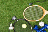 Photo Sport equipment on grass