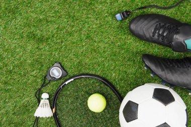 Sport equipment on grass