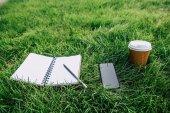 Notebook a digitální zařízení na trávě