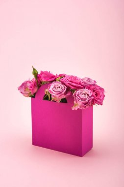 Pink roses in paper box