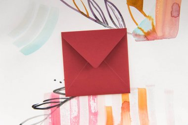 Envelope and watercolor painting