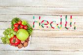health word and organic food