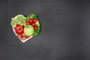 organic vegetables and fruits on plate