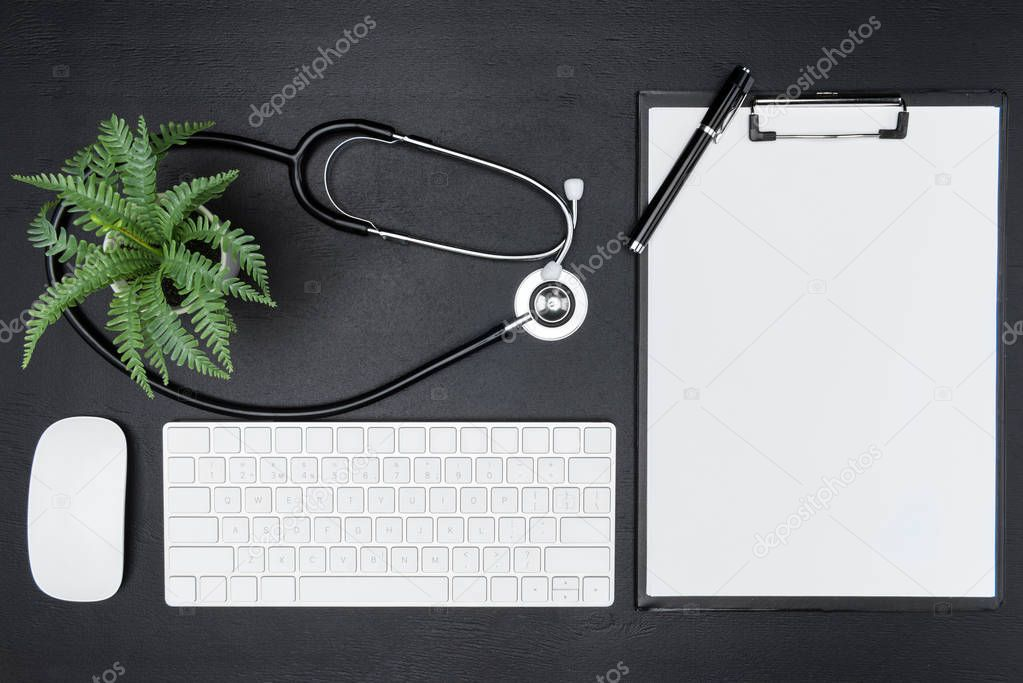 office supplies and stethoscope