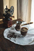 turkish coffee on white cloth