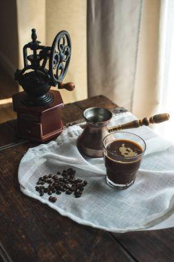 Turkish coffee on white cloth