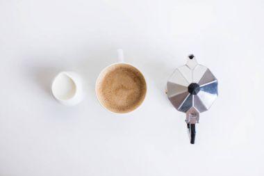french press, coffee and milk jar