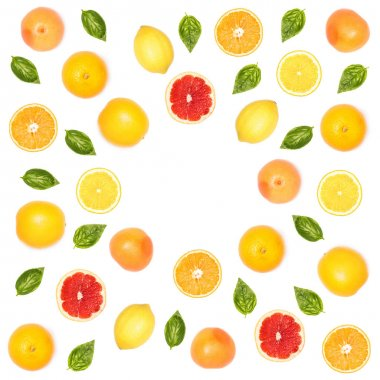 citrus fruits and basil leaves