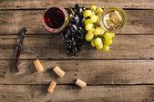 Wineglasses vörös és fehér bor