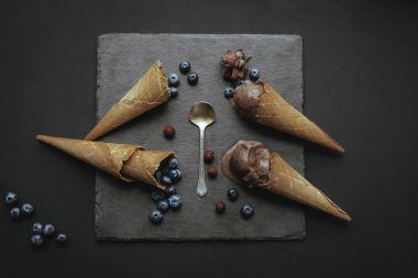 chocolate ice cream with blueberries
