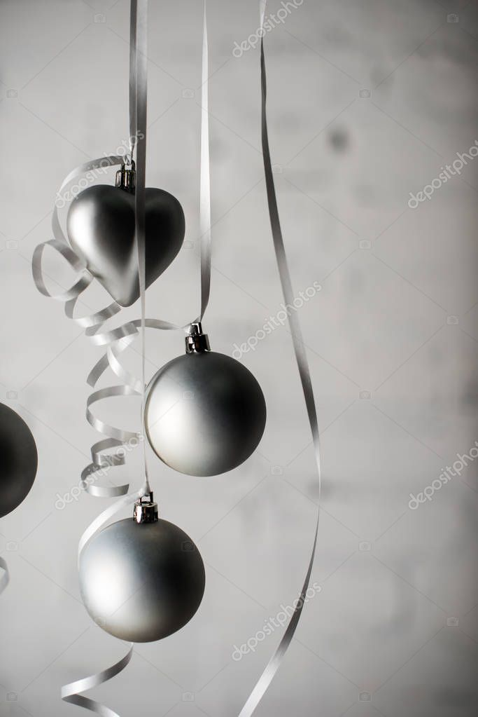 christmas balls on ribbons