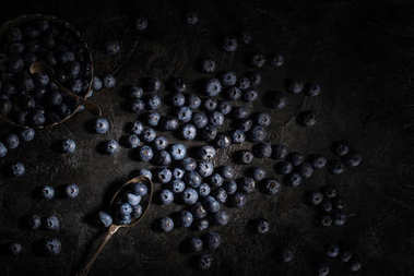 Blueberries and vintage cutlery