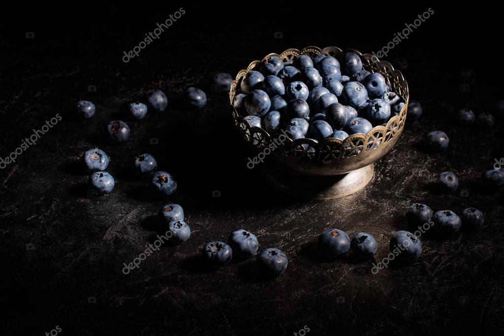 blueberries in vintage bowl