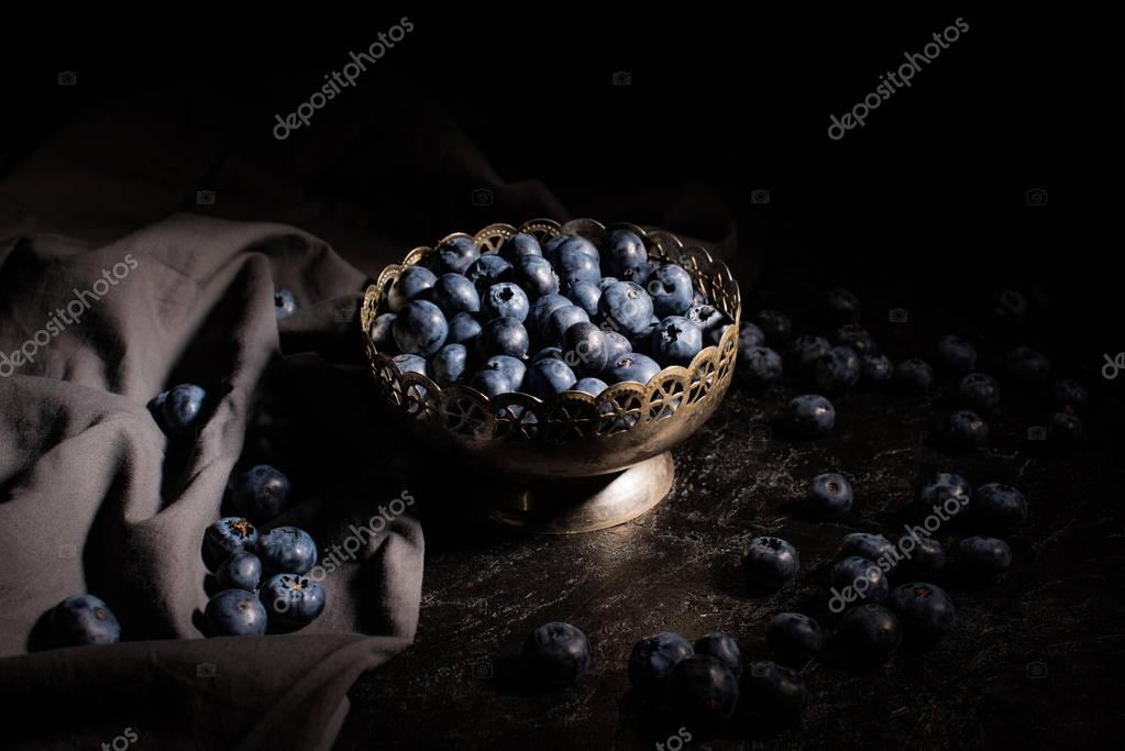 blueberries in vintage bowl