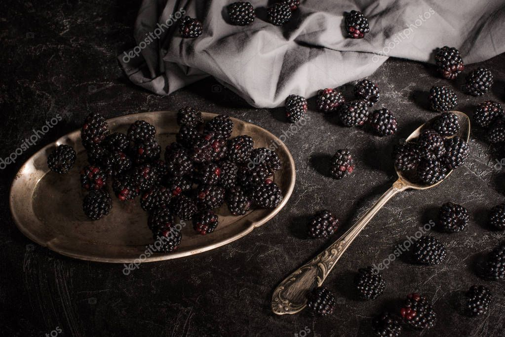 blackberries and vintage cutlery