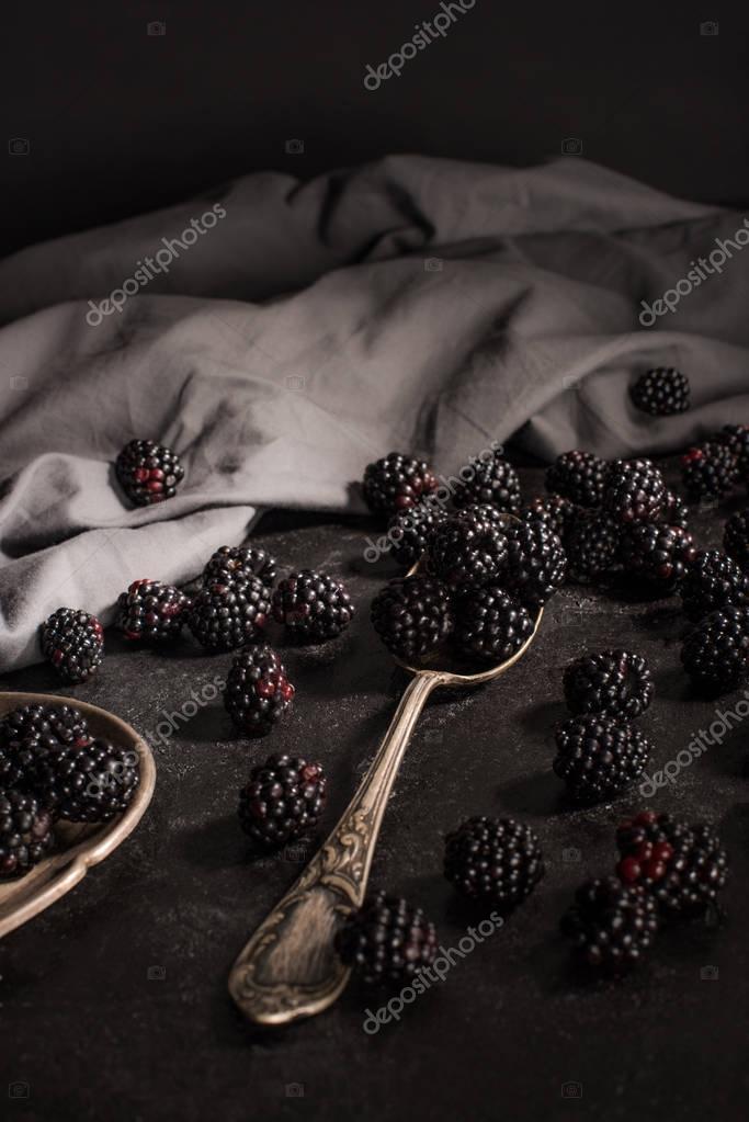 blackberries and vintage cutlery