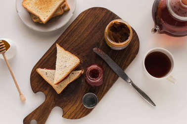 toasts with jam and peanut butter