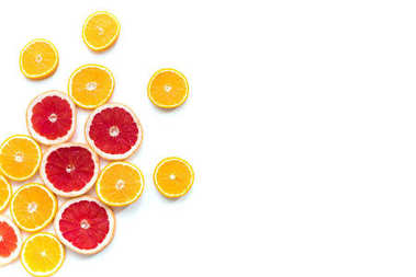 Top view of slices of fresh juicy orange and grapefruit isolated on white stock vector