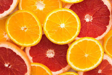 sliced orange and grapefruit