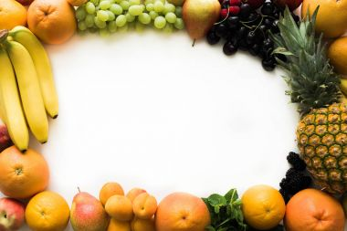 Top view of frame of different fresh fruits and berries stock vector