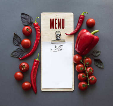 Top view of various red peppers, ripe cherry tomatoes, basil leaves and blank paper sheet isolated on grey stock vector