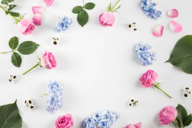 Floral composition with roses, hydrangea flowers and copy space, isolated on white stock vector