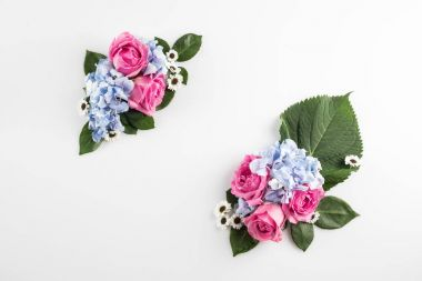 roses and hydrangea flowers