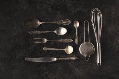 vintage silverware and baking utensils