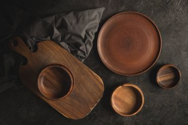 wooden tableware and linen