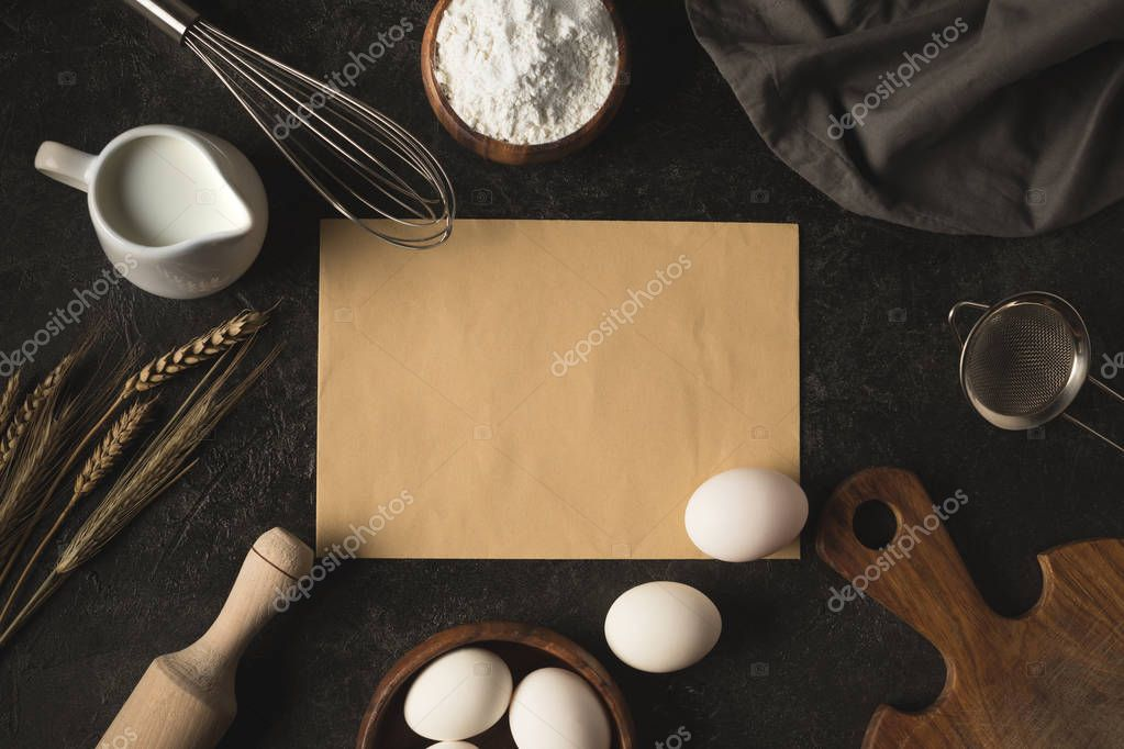bakery ingredients and kitchenware