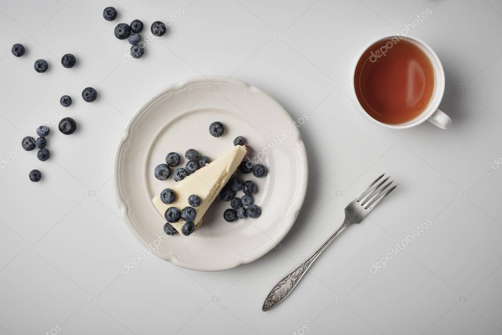 slice of cheesecake with blueberries