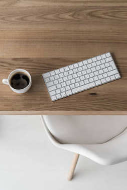 wireless keyboard and cup of coffee