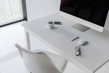 workplace with computer in modern office