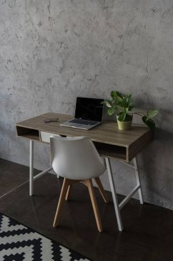 Workplace with laptop computer