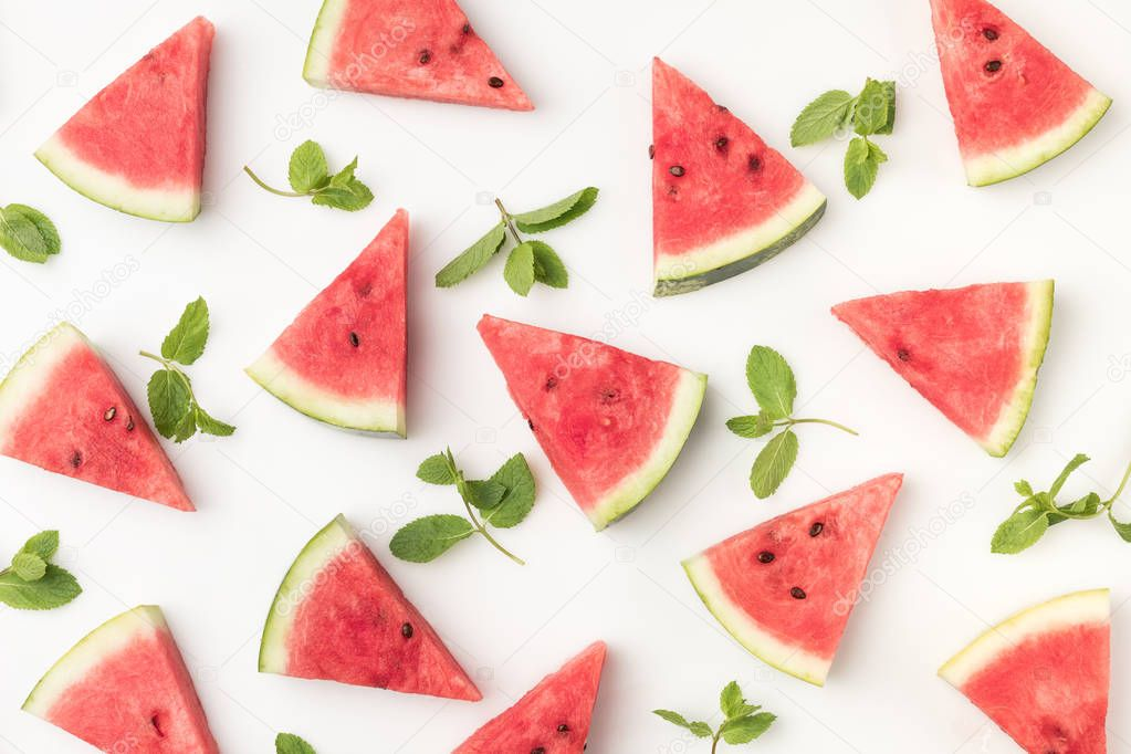 watermelon slices and mint leaves