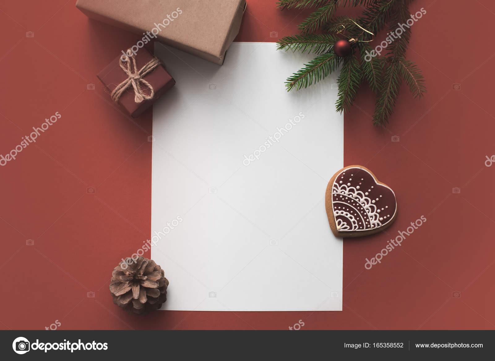 Carte Vierge Avec Des Cadeaux De Noël Photographie